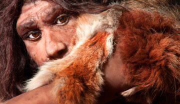 Om de Neanderthal, îmbrăcat în blană de culoare portocalie. Face parte din un grup de oameni antici